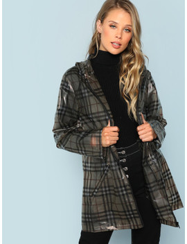 Zip Up Hoodie Plaid Print Jacket by Shein