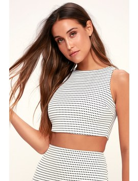 Coty Black And White Grid Print Crop Top by Lulu's