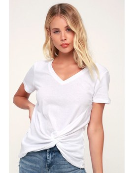 The Twist Front White V Neck Tee by Lulu's
