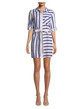Split Striped Tie Waist Linen Stretch Shirt Dress by Milly