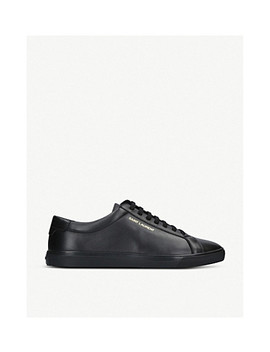 Andy Logo Print Leather Trainers by Saint Laurent