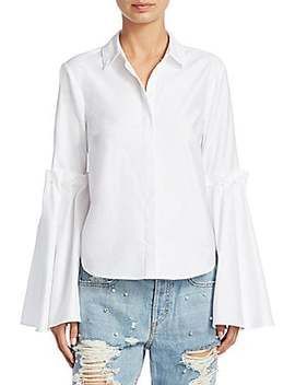 Mixed Trim Silk Lace Up Blouse by Jonathan Simkhai