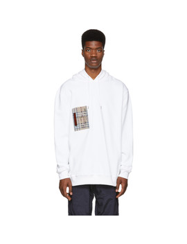 White Checker Pocket Hoodie by Burberry
