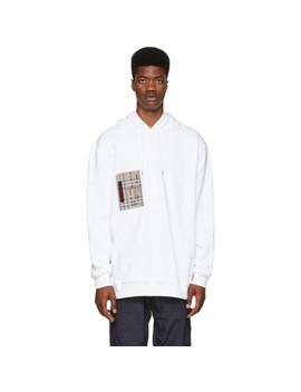 White Checker Pocket Hoodie by Burberry