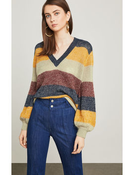 Striped Metallic Mohair Sweater by Bcbgmaxazria