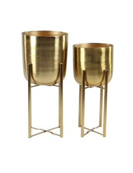 Set Of 2 Contemporary 19 And 22 Inch Gold Iron Planters With Stands by Studio 350
