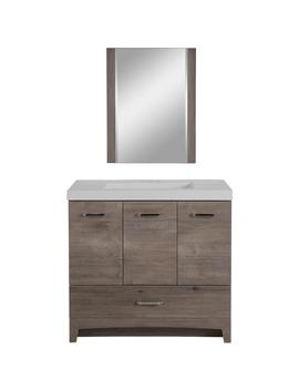 Stancliff 36.50 In. W Vanity In White Washed Oak With Cultured Marble Vanity Top In White With White Basin And Mirror by Glacier Bay
