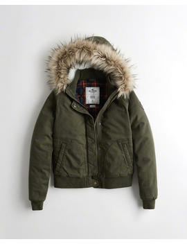 Stretch Flannel Lined Twill Bomber Jacket by Hollister