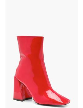 Flared Heel Patent Sock Boots by Boohoo