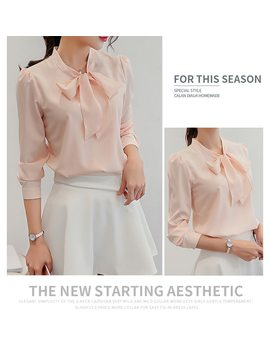 Harajuku New Spring Summer Blouse Women Long Sleeve Shirts Fashion Leisure Chiffon Shirt Bow Office Ladies Pink White Tops by Dnsdfs