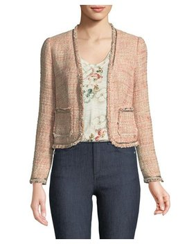 Open Front Collarless Tweed Jacket by Rebecca Taylor