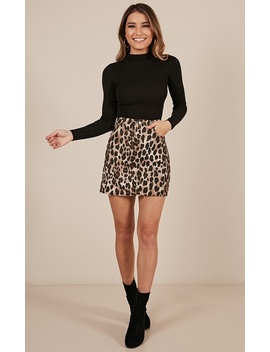 False Start Skirt In Leopard Print by Showpo Fashion