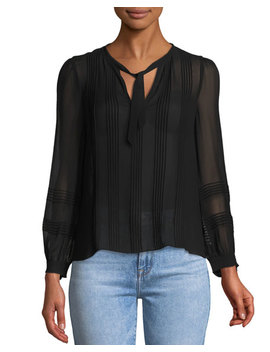 Long Sleeve V Neck Chiffon Top by Rebecca Taylor