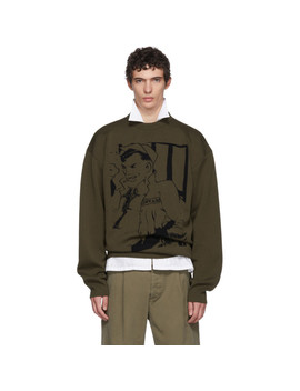 Khaki Sailor Sketch Crewneck Sweater by Jw Anderson
