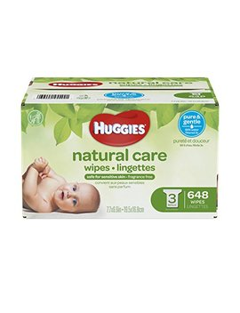 Huggies Natural Care Unscented Baby Wipes, Sensitive, Water Based, 3 Refill Packs, 648 Count Total by Huggies