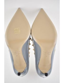 Nib Valentino Rockstud Grey Blue Patent Leather Nude Stud Classic Heel Pump 38 by Valentino