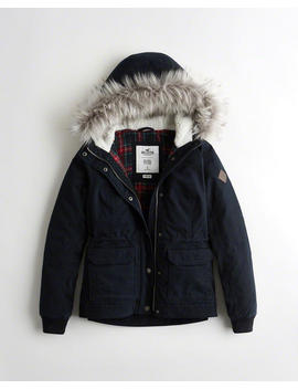 Stretch Flannel Lined Twill Anorak by Hollister