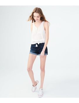 High Waisted Dark Wash Denim Midi Shorts by Aeropostale