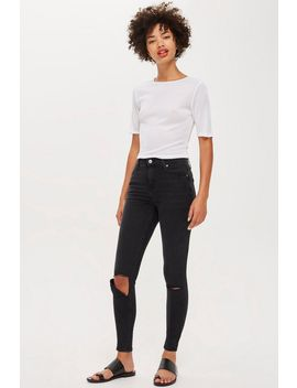 Washed Black Flap Rip Jamie Jeans by Topshop
