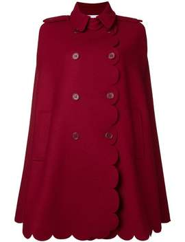 Red Valentino Armure Scallop Detail Capehome Women Red Valentino Clothing Capes Blue 65 Suede Slingbacks Armure Scallop Detail Cape by Red Valentino