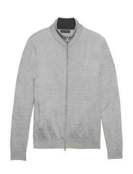 Premium Cotton Cashmere Full Zip Sweater Jacket by Banana Repbulic