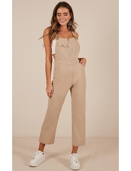 Want To Be Friends Overall Jumspuit In Beige by Showpo Fashion