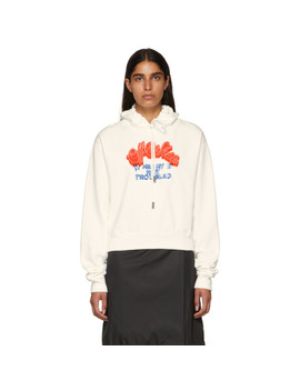 White 'heart Not Troubled' Hoodie by Off White