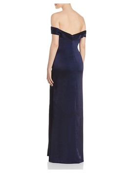 Off The Shoulder Column Gown   100 Percents Exclusive by Aidan Mattox