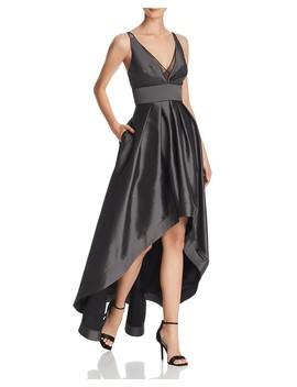 High/Low Taffeta Gown   100 Percents Exclusive by Aidan Mattox