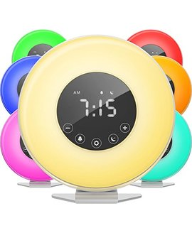 H Ome Labs Sunrise Alarm Clock   Digital Led Clock 6 Color Switch Fm Radio Bedrooms   Multiple Nature Sounds Sunset Simulation & Touch Control Snooze Function Heavy Sleepers by H Ome Labs