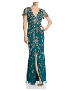Embellished Slit Sleeve Gown by Aidan Mattox