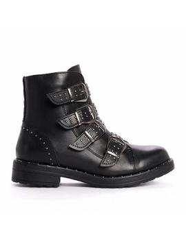 Black Quad Buckle And Stud Ankle Boots by Koi Footwear