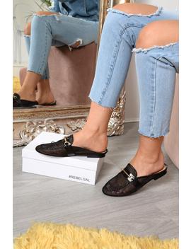 Black Mesh Bar Detail Loafers   Zafira by Rebellious Fashion