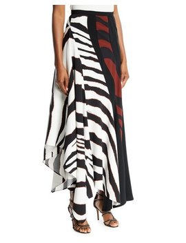 Multi Shadow Zebra Print Crepe Maxi Skirt by Roberto Cavalli