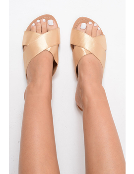 Gold Fabric Cross Over Sliders   Lanea by Rebellious Fashion