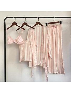 Qweek 4 Piece Tank Top+Brassiere+Pnats+Robe Women Satin Pajamas Fashion Striped Silk Sleepwear Pijama Home Clothing Pyjama by Qweek