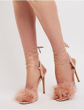 Feather Ankle Tie Sandals by Charlotte Russe