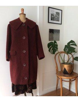 Vintage 1950s Burgundy Plum Wool Long Coat by Ginkgo Vintage