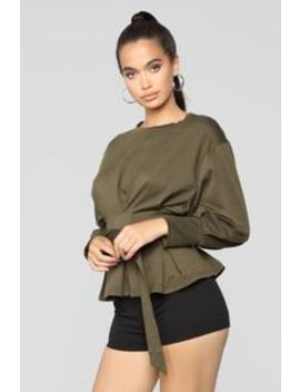 City Babe Belted Top   Olive by Fashion Nova