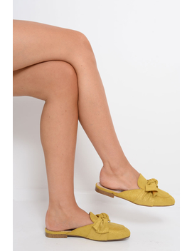 Yellow Bow Front Mules   Rahab by Rebellious Fashion