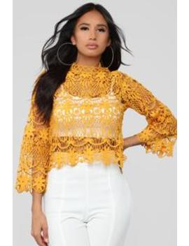 Crochet Bell Sleeve Blouse   Mustard by Fashion Nova