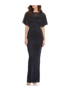 Stretch Lace Caplet Gown by Generic