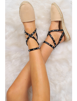 Beige Studded Cross Over Espadrilles  Zareen by Rebellious Fashion