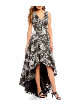 Embroidered Floral Hi Low Gown by Generic
