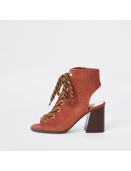 Orange Lace Up Block Heel Shoe Boots by River Island