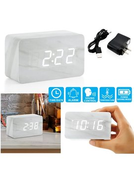 Oct17 Marble Pattern Alarm Clock, Fashion Multi Function Led Alarm Clock With Snooze And Usb Power Supply, Voice Control, Timer, Thermometer   White by Oct17
