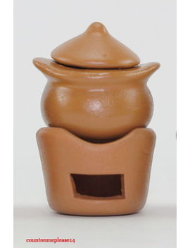 Miniatures Traditional Stove & Boiler Brown Ceramic Nice Handcrafts Decorative by Unbranded