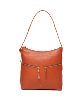 Hidesign Orange Solid Hobo Bag by Hidesign