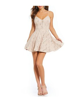 Spaghetti Strap Sequin Lace Plunging Fit And Flare Dress by Generic