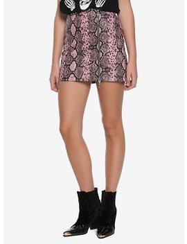 The Ragged Priest Pink Snake Print Skirt by Hot Topic